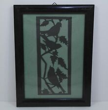 Vintage Folk Art Framed Paper Cut Bird & Branch Motifs