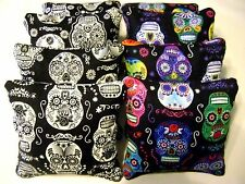SUGAR SKULL DAY OF THE DEAD SKULLS CORNHOLE BEAN BAGS SET OF 8- GLOW IN THE DARK