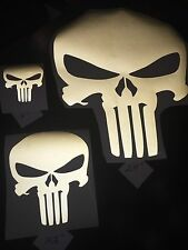 "5"" Black Reflective Punisher Vinyl Helmet, Car Window Decal Sticker"