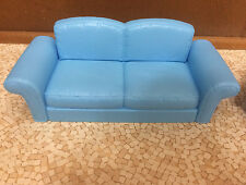 Barbie Doll Decor Collection House Couch Blue Sofa Living Room Furniture