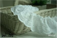 "2yds Broderie vintage gathered eyelet lace trim  2.4"" white YH1423 laceking2013"