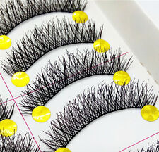Negro Hecho A Mano 10 Pares Grueso Maquillaje falso Pestañas Natural Largo False Lashes