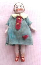 "GERMAN ANTIQUE DOLLHOUSE ALL BISQUE DECO MINIATURE 3"" DOLL - ORIGINAL OUTFIT"