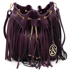 New Hue & Ash® Beautiful Chain Accented Fringe Crossbody Bag- Dk Purple