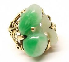 Vtg 14K Gold Chinese Green Jade Ring Sz 4.75 White Ornate Apple Fruit Jadeite