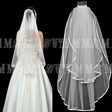 NEW Elegant Wedding Bridal Prom Waist Length White 2 TIER Veil Edge With Comb