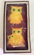 Vintage Miller Studio Yellow Owl Hot Pad Holder Wall Plaques Chalkware NOS