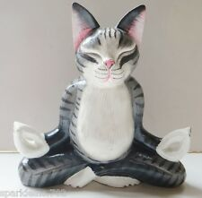 "8 ""CAT GRAY WOOD FIGURINE MEDITATING YOGA BUDDHA LOTUS POSITION HANDMADE, SIGNED"