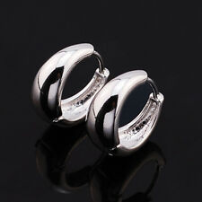 Vintage Smooth  14K Silver Plated Womens Girls Clip On Small Round Hoop Earrings