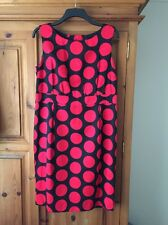 HOBBS Black&Red Spotted Cotton/ Silk Dress, Size 16