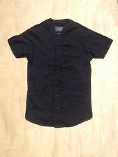 Topman Black Baseball Jersey En XS X-Small Shirt Short Sleeve Noir
