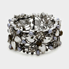Elegant Formal Special Occasion Gray Floral Crystal Pearl Bangle Bracelet