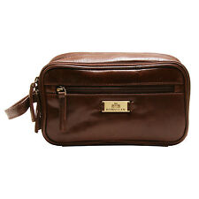 Rowallan - Cognac Three Section Vegetable Tanned Buffalo Leather Verona Wash Bag