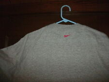 hockey t-shirt S/S gray with red Nike swash on back bellow collar size large NEW