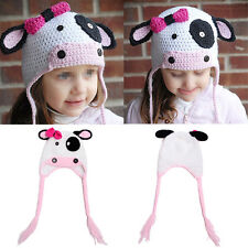 Baby Girls Crochet Knitted White Pink Milk Cow Hat Photography Costume Beanie