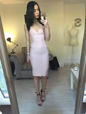 Miss Selfridge Pink Strappy Bodycon Midi Dress Small 6 8
