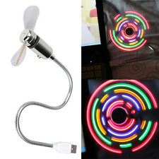 Flexible Colorful LED Light Mini USB Desk Fan Cooling for Home Notebook Laptop