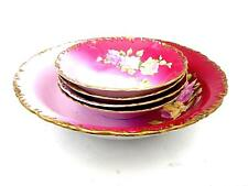 Lovely Antique Victorian Berry Set Pink Roses Master Bowl 4 Small Bowls