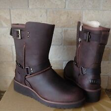 UGG MADDOX CHESTNUT WATER-RESISTANT LEATHER SHEEPSKIN WEDGE BOOTS US 6 WOMENS