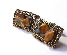 VINTAGE 1960/70s CUFFLINKS Gold Tone Frame with TIGER'S EYE Chips  FREE P&P