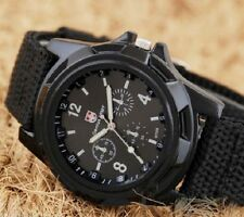 Hot Solider Military Army Sport Style Canvas Belt Quartz Wrist Watch Black