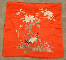 ANTIQUE BEAUTIFUL CHINESE HAND EMBROIDERED CUSHION TEXTILE ART PANEL 54X57cm