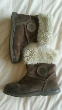 Girls childs brown suede clarks boots shoes size 6.5 1/2 F