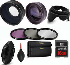 40.5mm FISHEYE LENS + TELEPHOTO LENS +3 FILTERS +16GB CARD FOR SONY ALPHA A6500