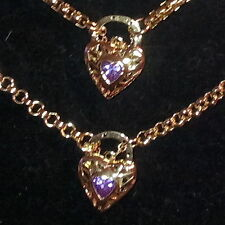 New 9K Gold Filled Amethyst Crystal Filigree Heart Belcher Necklace Bracelet Set