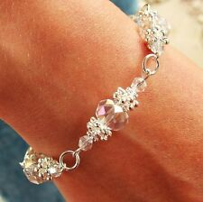 N / FLOWER BRACELET KIT CRYSTAL AB RONDELLE BEADS  ON SILVER JEWELLERY MAKING