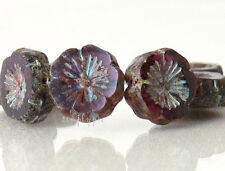 Pansy Violet Picasso Czech Flower Glass Beads 15mm 6 Pcs New Arrivals