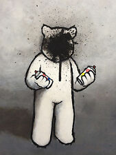 LUKE CHUEH Graffiti 2015 print poster spray can fail street art sad bear humor