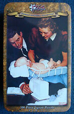 small jigsaw puzzle 500 pc tin Norman Rockwell Collection Weighing Baby