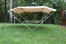 "NEW TAN/BEIGE VORTEX 4 BOW PONTOON/DECK BOAT BIMINI TOP 8' long 61-66"" wide"