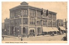 Fergus Falls - Minnesota - Pickit Block, shops, people - old postcard