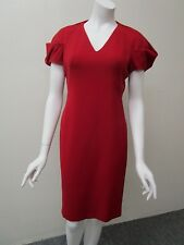 ALEXANDER McQUEEN Made in Italy Red V-Neck Puff Sleeve Wool Sheath Dress Size 42