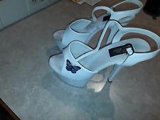 Ellie Stripper Exotic Dancer 6 Inch Platform Heels Size 9 (White)(Butterfly)