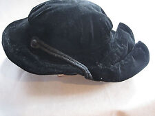 Antique 1900's Edwardian Black Velvet Ladies Hat  Fancy Marie-Guy PARIS Label