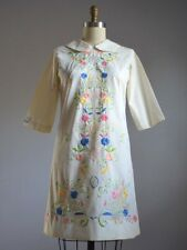 VTG 60's IVORY SCOOTER DRESS with BEAUTIFUL COLORFUL HAND EMBROIDERED FLOWERS