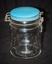 Classic Style Clear Storage Jar w Blue Ceramic Wire Bail Stopper Swing Top Lid
