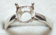 Sz.8 PRE-NOTCHED 925 STERLING SILVER 9 mm RING MOUNT R691
