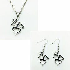 free shipping  1 set of Browning Deer Necklace & earrings Fashion Jewelry black!