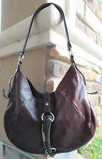 YSL YVES SAINT LAURENT MOMBASA HORN Distressed Leather HOBO BAG Authentic