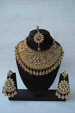 Indian Bollywood Style Gold Plated Designer Fashion Bridal Jewelry Necklace Set