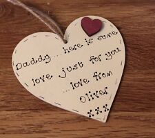 Personalised birthday/ fathers day gift for daddy/dad handmade wooden heart