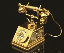 24K GOLD PLATED SWAROVSKI CRYSTAL ELEMENTS OLD FASHION PHONE ORNAMENT FIGURINE
