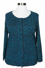 CATHERINES NAVY BLUE TEAL LONG SLEEVE BUTTON CARDIGAN SWEATER PLUS Sz 4X 30/32W