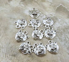 Ten (10) Pewter Grizzly Bear Head Charms - 0154