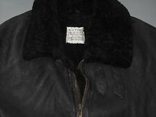 VTG Calafate Aviation B-3 Shearling Wool Black Leather Flight Jacket Mens Large