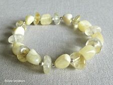 Pastel Lemon Yellow Calcite Nuggets, Citrine Nuggets & Sterling Silver Bracelet